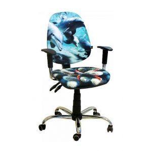 Кресло детское AMF Бридж Дельфины 650х650х1090 мм хром
