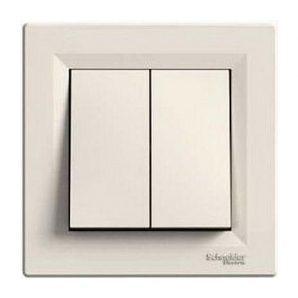 Выключатель двухклавишный Schneider Electric Asfora EPH0300123 83х83х42 мм кремовый