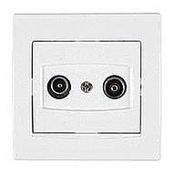 Розетка TV/R Schneider Electric Anya AYA3300221 проходная 8дБ 81,5х81,5х40 мм белый