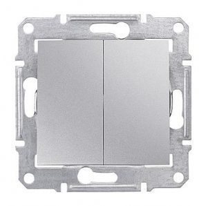 Выключатель двухклавишный Schneider Electric Sedna SDN0300160 71х71х42 мм алюминий