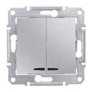 Выключатель двухклавишный Schneider Electric Sedna SDN0300360 с индикатором 71х71х42 мм алюминий