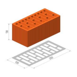 Керамічний порожнистий поризований блок Керамейя ТеплоКерам 2,12 НФ 250х120х138 мм