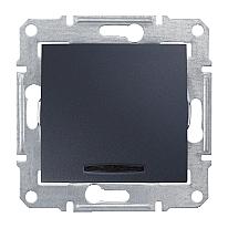 Выключатель одноклавишный Schneider Electric Sedna SDN1400170 с синей подсветкой графит