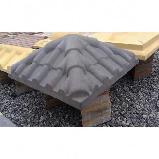 Крышка на столб Черепица 390х390х115 мм серое