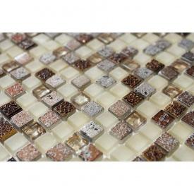 Мозаика мрамор стекло VIVACER 1,5х1,5 DAF13 30х30 cм