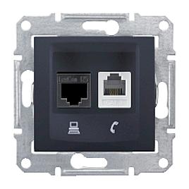 Розетка Schneider Electric Sedna SDN5200170 RJ11+RJ45 кат.6е UTP графит