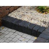 Тротуарная плитка Золотой Мандарин Кирпич Антик 200х100х60 мм черный на белом цементе