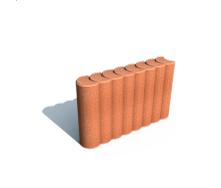 Поребрик фигурный круглый Золотой Мандарин на сером цементе 67х80х250 мм (персиковый)