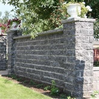 Камень для забора Золотой Мандарин (двухсторонний скол) 350х180х150 мм серый