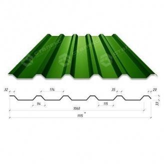 Профнастил Сталекс Н-33 1115/1060 мм 0,65 мм PE Россия (Северсталь) (RAL6005/зеленый мох)