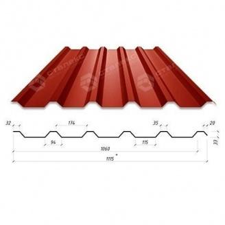 Профнастил Сталекс Н-33 1115/1060 мм 0,45 мм PEMA Корея (Dongbu) (RAL3005/винный красный)