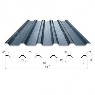 Профнастил Сталекс Н-33 1115/1060 мм 0,45 мм PEMA Корея (Dongbu) (RAL7024/серый графит)