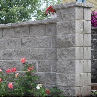 Блок декоративный для столба Золотой Мандарин М-200 (двухсторонний скол) 400х400х200 мм серый
