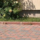 Столбик фигурный квадратный Золотой Мандарин 100х80х250 мм персиковый на сером цементе