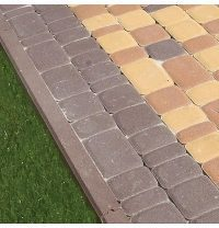 Поребрик Золотой Мандарин 1000х200х80 мм коричневый на сером цементе