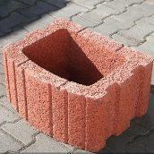Цветочница квадратная Золотой Мандарин 500х400х250 мм красный на сером цементе