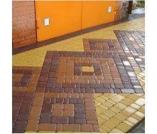 Тротуарная плитка Золотой Мандарин Старый город 120х40 мм на сером цементе коричневый
