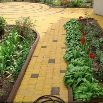 Тротуарная плитка Золотой Мандарин Старый город 120х60 мм на белом цементе желтый
