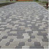 Тротуарная плитка Золотой Мандарин Старый город 120х80 мм на сером цементе черный