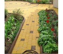 Тротуарная плитка Золотой Мандарин Старый город 120х80 мм на белом цементе желтый