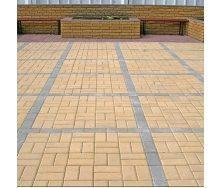 Тротуарная плитка Золотой Мандарин Кирпич стандартный 200х100х40 мм желтый на белом цементе