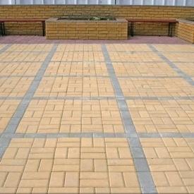 Тротуарна плитка Золотий Мандарин Цегла стандартна 200х100х40 мм на білому цементі жовтий