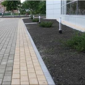 Тротуарна плитка Золотий Мандарин Цегла стандартна 200х100х80 мм на сірому цементі персиковий