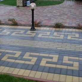 Тротуарна плитка Золотий Мандарин Цегла стандартна 200х100х80 мм на сірому цементі чорний