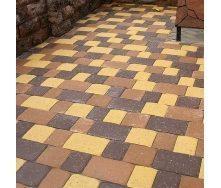 Тротуарная плитка Золотой Мандарин Старая площадь 160х40 мм желтый на сером цементе