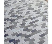 Тротуарная плитка Золотой Мандарин Кирпич без фаски 200х100х60 мм черный на белом цементе
