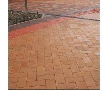 Тротуарная плитка Золотой Мандарин Кирпич без фаски 200х100х60 мм персиковый на белом цементе