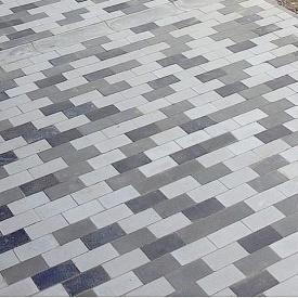 Тротуарная плитка Золотой Мандарин Кирпич без фаски 200х100х60 мм на сером цементе черный