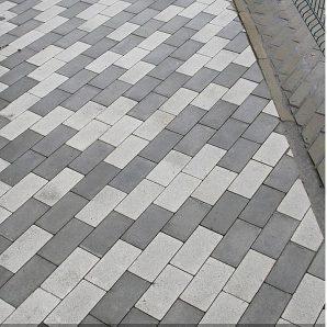 Тротуарна плитка Золотий Мандарин Цегла без фаски 200х100х60 мм на білому цементі білий