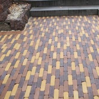 Тротуарна плитка Золотий Мандарин Барселона Антик 192х45х60 мм бордовий на сірому цементі