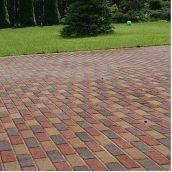 Тротуарная плитка Золотой Мандарин Кирпич узкий 210х70х60 мм на сером цементе красный