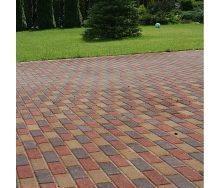 Тротуарная плитка Золотой Мандарин Кирпич узкий 210х70х60 мм красный на сером цементе