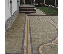 Тротуарная плитка Золотой Мандарин Креатив 60 мм на сером цементе горчичный