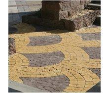 Тротуарна плитка Золотий Мандарин Креатив 60 мм жовтий на сірому цементі