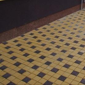 Тротуарна плитка Золотий Мандарин Квадрат малий 100х100х60 мм на сірому цементі коричневий