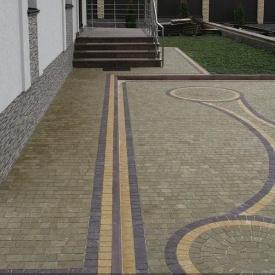 Тротуарна плитка Золотий Мандарин Креатив 60 мм на сірому цементі гірчичний
