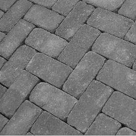 Тротуарна плитка Золотий Мандарин Цегла Антик 200х100х60 мм на сірому цементі чорний