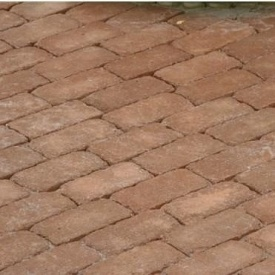 Тротуарна плитка Золотий Мандарин Цегла Антик 200х100х60 мм на сірому цементі персиковий