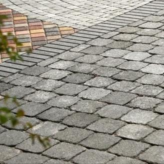 Тротуарная плитка Золотой Мандарин Квадрат Антик 160х160х90 мм полный прокрас черный