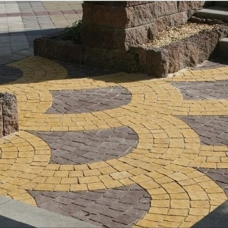 Тротуарная плитка Золотой Мандарин Креатив 60 мм на белом цементе желтый