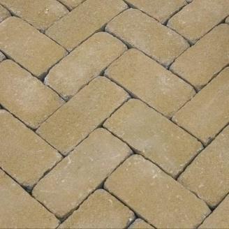 Тротуарная плитка Золотой Мандарин Кирпич Антик 200х100х60 мм на сером цементе горчичный
