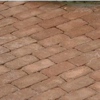 Тротуарная плитка Золотой Мандарин Кирпич Антик 200х100х60 мм персиковый на белом цементе