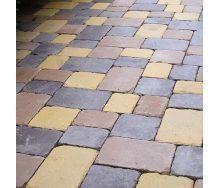 Тротуарная плитка Золотой Мандарин Плац Антик 160х60 мм персиковый на белом цементе