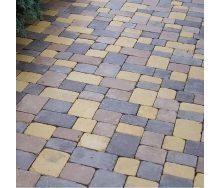 Тротуарная плитка Золотой Мандарин Плац Антик 160х60 мм коричневый на белом цементе