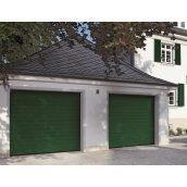 Ворота гаражные секционные двустенные Hormann LPU S-гофр woodgrain RAL 6009 хвоя
