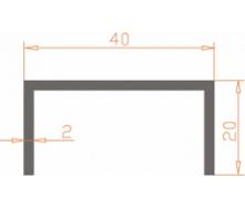 Алюминиевый П-образный профиль AS 40х20х2 мм